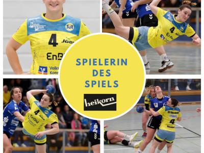 Spielerin des Spiels beim Heimspiel gegen die SG Kappelwindeck/Steinbach ist Sarah Rothmund! Gesponsert vom Modehaus Heikorn.