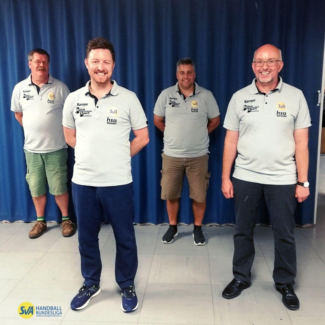 Kontinuität in der Vorstandschaft des Handball Sportmanagement Allensbach; im Bild der geschäftsführende Vorstand (von links): Fabian Stadler, Andreas Spiegel, Markus Laube, Werner Egenhofer.